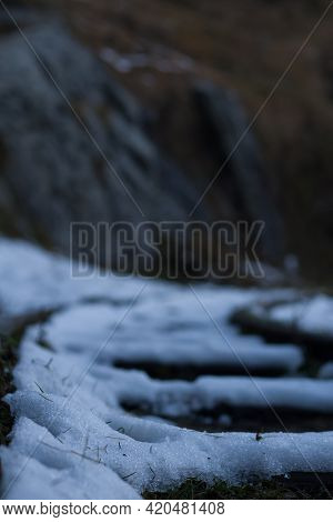 picture of snow on a track. high bokeh