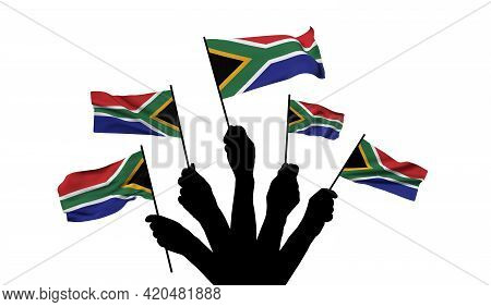 South Africa National Flag Being Waved. 3d Rendering