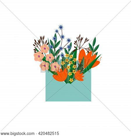 A Bouquet Of Wildflowers In A Postal Envelope. Floral Bouquet - Vector Graphics. For Congratulations