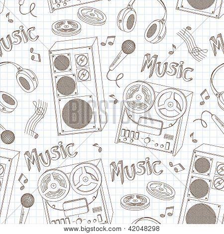 Retro seamless pattern of music equipment