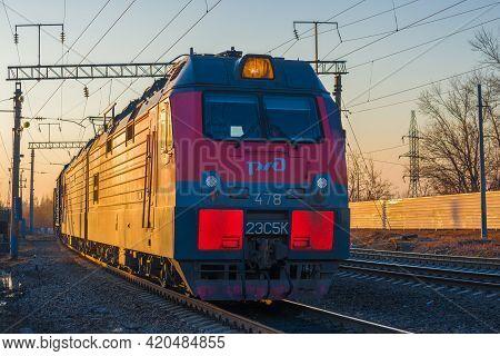 Sharya, Russia - April 11, 2021: Russian Electric Locomotive 2es5k