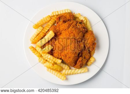 Western Food, Golden Color Bread Crumb Fried, Chicken Chop With Potato Fries.