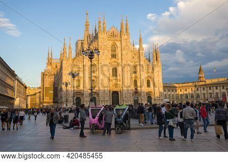 Milan, Italy - September 17, 2017: View Of The Duomo Di Milano Cathedral On A Sunny September Evenin