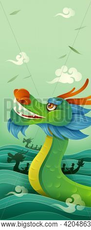 Dragon Boat Festival. Dragon Boat Race - A traditional Chinese paddles watercraft activity. Vertical banner. Dragon Boat Festival. Dragon Boat Race - A traditional Chinese paddles watercraft activity.