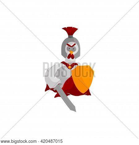 Spartan Roaster Mascot Illustration Wear Helmet Shield Sword Animal