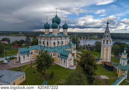 Ancient Resurrection Cathedral Under A Cloudy Sky On A July Day. Shooting From A Quadcopter. Tutaev