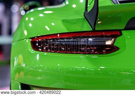 Close-up Of A Red Taillight On A Luxury Sport Car, Detail On The Rear Light Of A Car