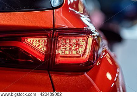 Close-up Of A Red Taillight On A Modern Car, Detail On The Rear Light Of A Car