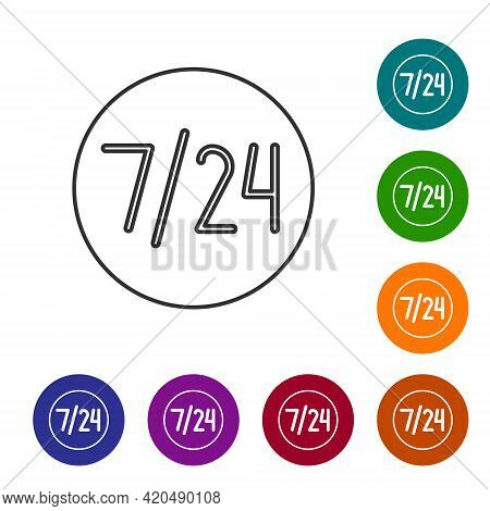 Black Line Clock 24 Hours Icon Isolated On White Background. All Day Cyclic Icon. 24 Hours Service S