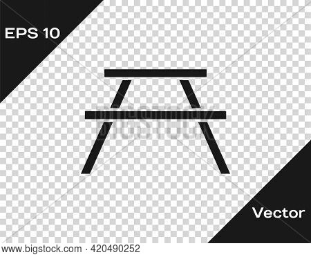 Black Picnic Table With Benches On Either Side Of The Table Icon Isolated On Transparent Background.