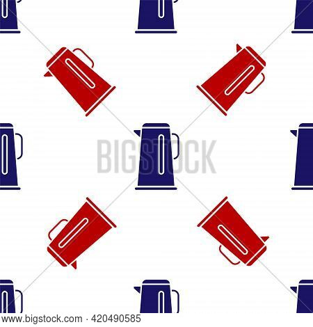 Blue And Red Kettle With Handle Icon Isolated Seamless Pattern On White Background. Teapot Icon. Vec