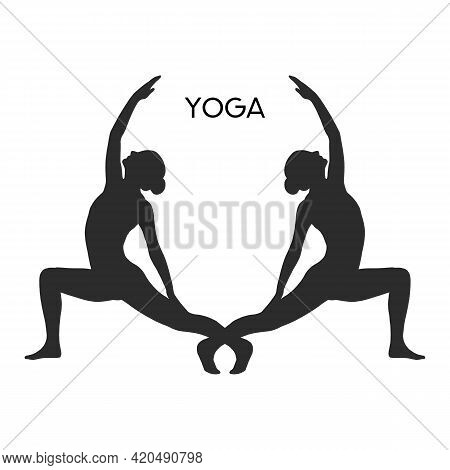 Vector Illustration The Sign Of Two Women Silhouette Meditating. Practicing Yoga. Yoga Pose, Women W