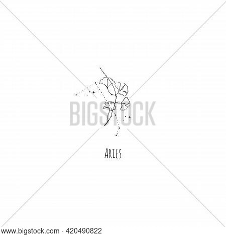 Hand Drawing Aries Constellation Symbol With Floral Branch And Stars. Modern Minimalist Mystical Ast