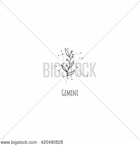 Hand Drawing Gemini Constellation Symbol With Floral Branch And Stars. Modern Minimalist Mystical As