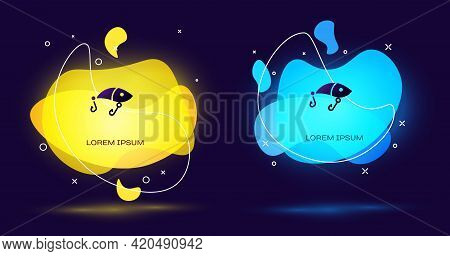 Black Fishing Lure Icon Isolated On Black Background. Fishing Tackle. Abstract Banner With Liquid Sh