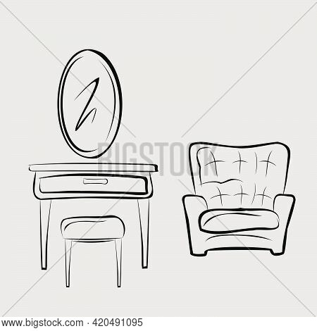 Armchair. Sofa. Cosmetic Table With Mirror. Oval Mirror, Chest Of Drawers And Chair.  Part Of A Set