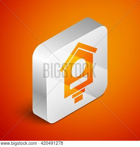 Isometric Bird House Icon Isolated On Orange Background. Nesting Box Birdhouse, Homemade Building Fo