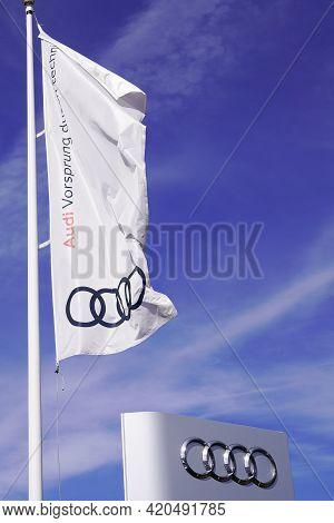 Bordeaux , Aquitaine France - 05 08 2021 : Audi Sign Text Flag And Brand Logo Shop German Automobile