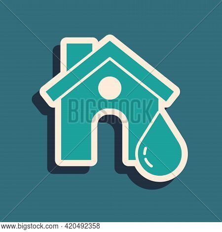 Green House Flood Icon Isolated On Green Background. Home Flooding Under Water. Insurance Concept. S