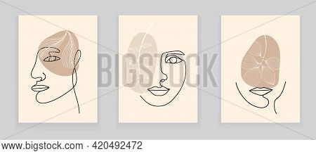 Boho Women Faces On Abstract Wall Art Vector. Surreal Portraits Set, Girl Face With Leaves In Line S