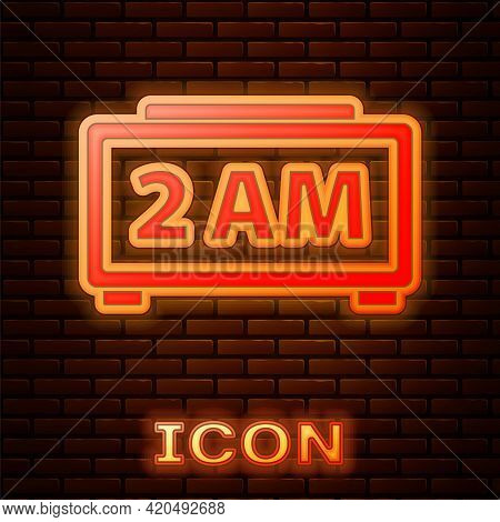Glowing Neon Digital Alarm Clock Icon Isolated On Brick Wall Background. Electronic Watch Alarm Cloc