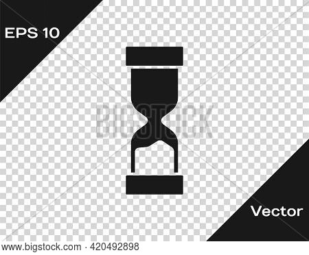 Black Old Hourglass With Flowing Sand Icon Isolated On Transparent Background. Sand Clock Sign. Busi