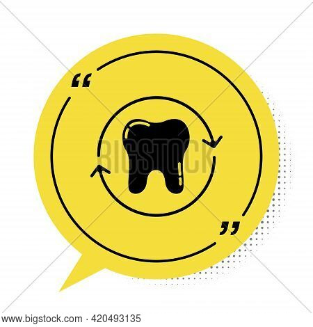 Black Tooth Whitening Concept Icon Isolated On White Background. Tooth Symbol For Dentistry Clinic O