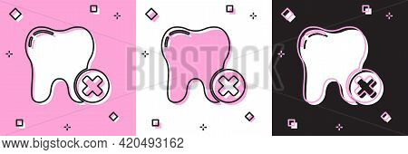 Set Tooth With Caries Icon Isolated On Pink And White, Black Background. Tooth Decay. Vector