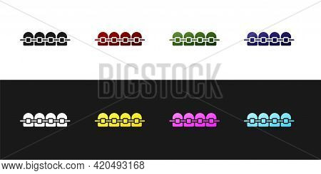 Set Teeth With Braces Icon Isolated On Black And White Background. Alignment Of Bite Of Teeth, Denta