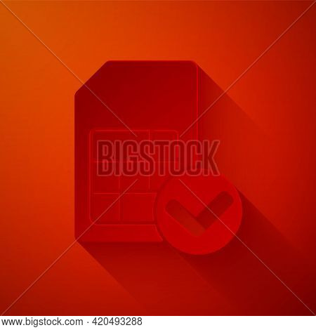 Paper Cut Sim Card Icon Isolated On Red Background. Mobile Cellular Phone Sim Card Chip. Mobile Tele