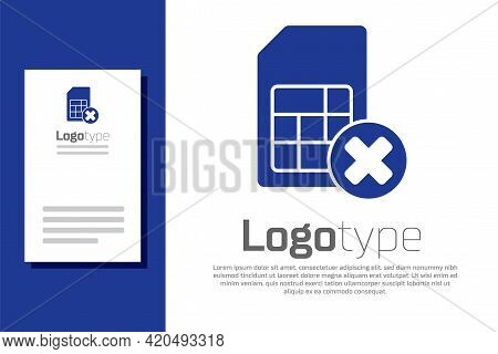 Blue Sim Card Rejected Icon Isolated On White Background. Mobile Cellular Phone Sim Card Chip. Mobil