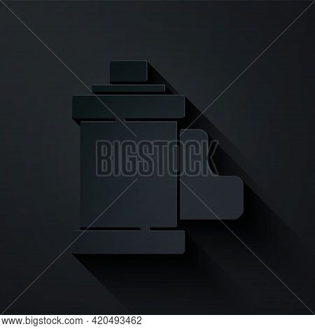 Paper Cut Camera Vintage Film Roll Cartridge Icon Isolated On Black Background. 35mm Film Canister.