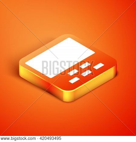 Isometric Cinema Auditorium With Screen And Seats Icon Isolated On Orange Background. Vector