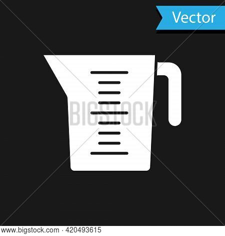 White Measuring Cup To Measure Dry And Liquid Food Icon Isolated On Black Background. Plastic Gradua