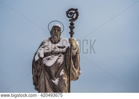 Saint Benedict Of Nursia Statue On Sonntagberg In The  Mostviertel Or Must Quarter Of Lower Austria