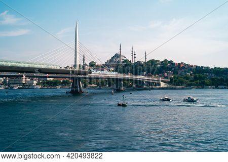 Istanbul, Turkey - June 8 2014: Golden Horn Metro Bridge Or Halic Metro Koprusu, A Cable-stayed Brid