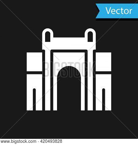 White India Gate In New Delhi, India Icon Isolated On Black Background. Gate Way Of India Mumbai. Ve
