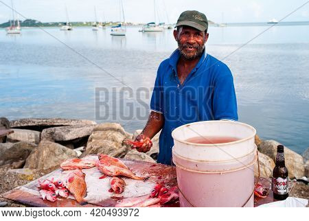 Marigot, Saint Martin - July 13 2013: Fish Monger Or Cleaner Cleaning Fish At The Local Market Prepa