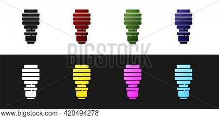 Set Led Light Bulb Icon Isolated On Black And White Background. Economical Led Illuminated Lightbulb