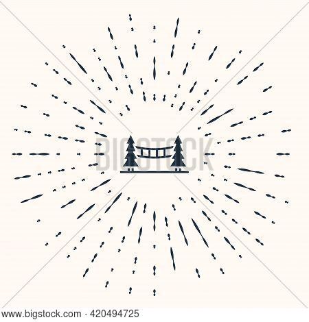 Grey Capilano Suspension Bridge In Vancouver, Canada Icon Isolated On Beige Background. Abstract Cir