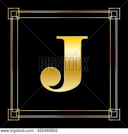 Letter J Logo Design With Square Ornament, Luxury Golden Design, Vector Illustration