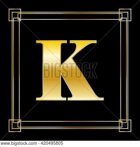 Letter K Logo Design With Square Ornament, Luxury Golden Design, Vector Illustration