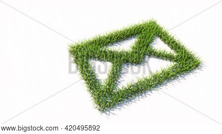 Concept or conceptual green summer lawn grass symbol isolated white background, email sign. 3d illustration metaphor for communication, contact, business, online marketing and technology