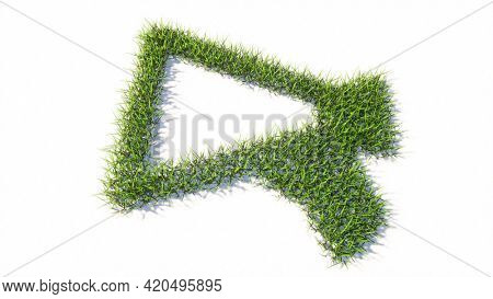 Concept or conceptual green summer lawn grass symbol shape isolated white background, megaphone icon. 3d illustration metaphor for communication, audio announcement, broadcast, warning and marketing