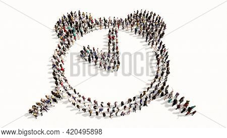 Concept conceptual large community of people forming the alarm clock icon. 3d illustration metaphor for time, countdown, notification, intenet, application and deadline