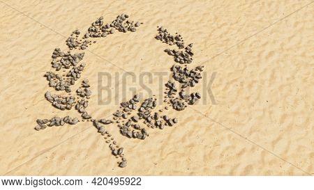 Concept conceptual stones on beach sand handmade symbol shape, golden sandy background, laurel wreaths sign. 3d illustration metaphor for victory, winning, success, achievement, triumph, celebration