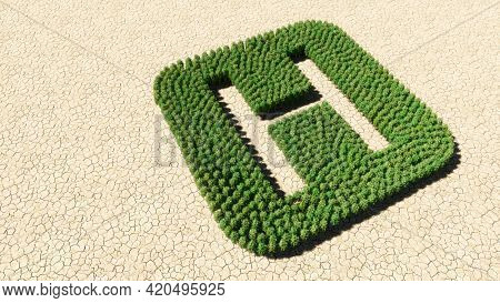 Concept or conceptual group of green forest tree on dry ground background, hospital sign. 3d illustration metaphor for health care, medical treatment, diagnosis, physician, emergency or surgery