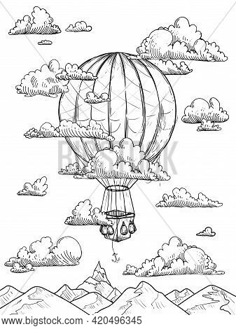 Hand Drawn Sketch Black And White Coloring Page Of Vintage Air Balloon, Clouds, Sky, Mountains. Vect