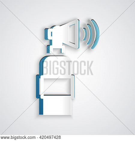 Paper Cut Air Horn Icon Isolated On Grey Background. Sport Fans Or Citizens Against Government And C