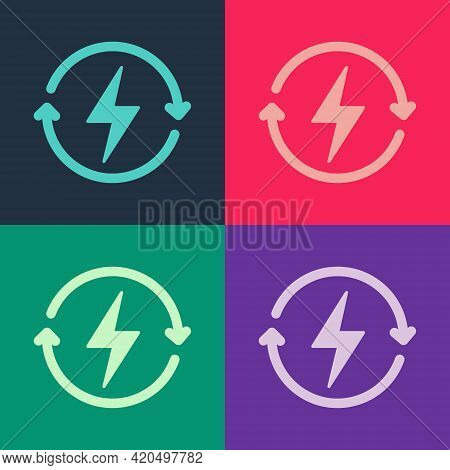 Pop Art Recharging Icon Isolated On Color Background. Electric Energy Sign. Vector